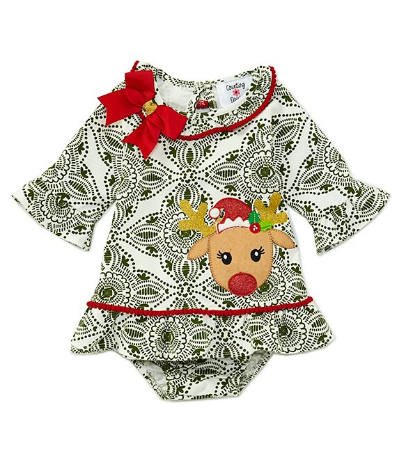 Counting Daisies Baby Girls 3-24 Months Christmas Reindeer Shift Dress