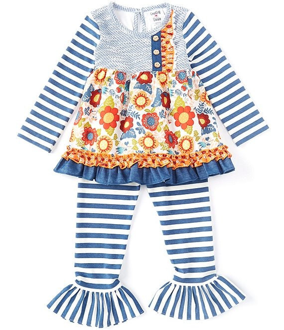 Color:Blue - Image 1 - Little Girls 2T-6X Mixed-Media Dress & Striped Leggings Set
