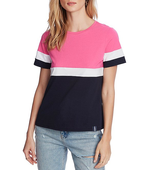 Color:Vineyard Pink - Image 1 - Knit Short Sleeve Colorblock Tee