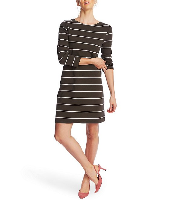 Color:Olive Fern - Image 1 - Long Sleeve Striped Knit Dress
