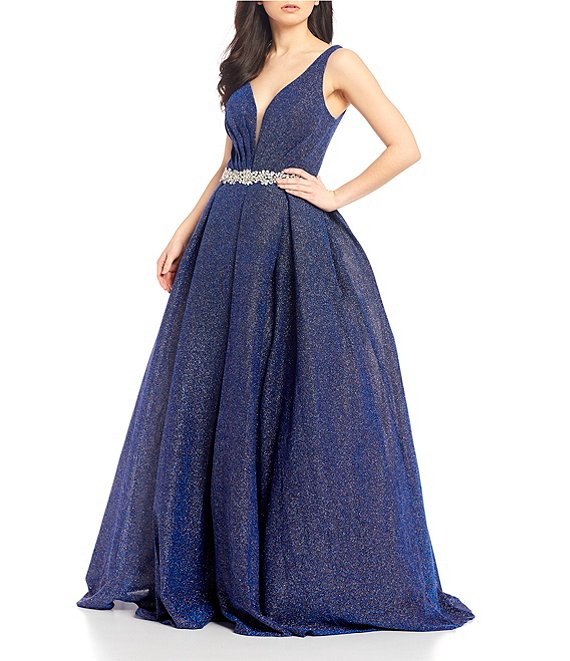 Color:Royal - Image 1 - Plunging-Neck Beaded-Waist Shimmer Ballgown