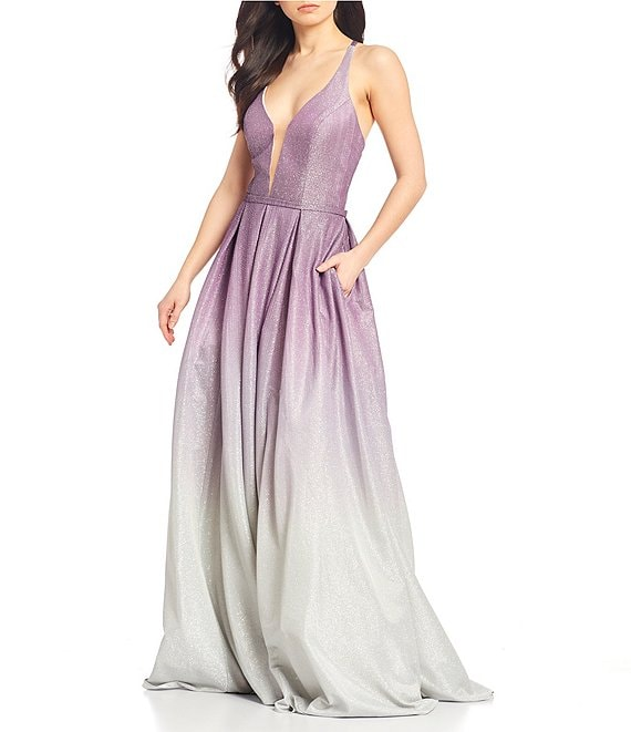 Color:Purple/Silver - Image 1 - Plunging V-Neck Shimmer Ombre Ballgown