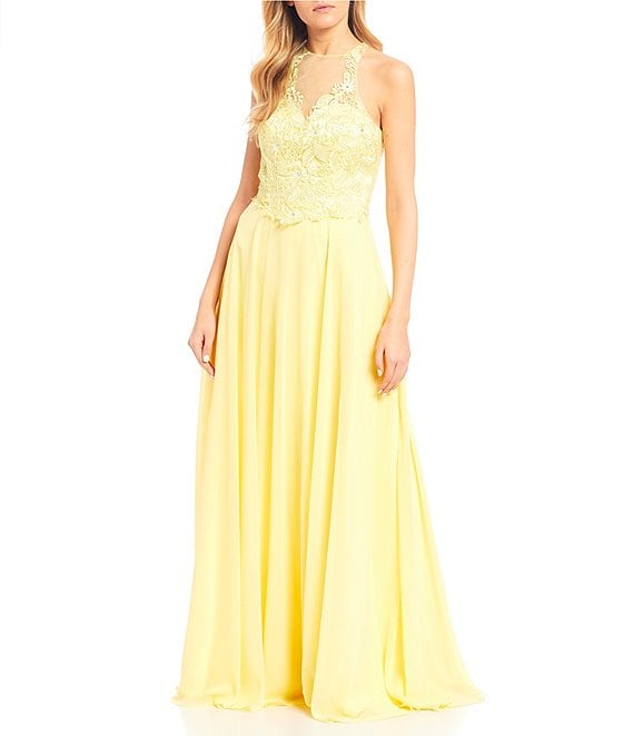 Color:Lemon - Image 1 - Sleeveless Illusion-Yoke Lace Bodice Chiffon Long Dress