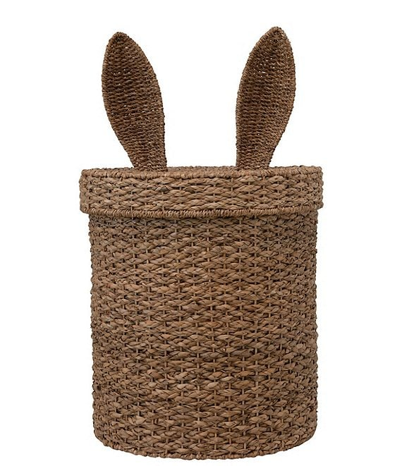 Edgehill Collection Hand-Woven Seagrass & Rattan Bunny-Ear Basket