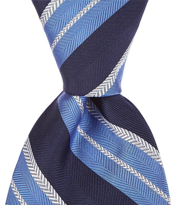 Color:Blue - Image 1 - Buckley Stripe Traditional 3 1/4#double; Silk Tie
