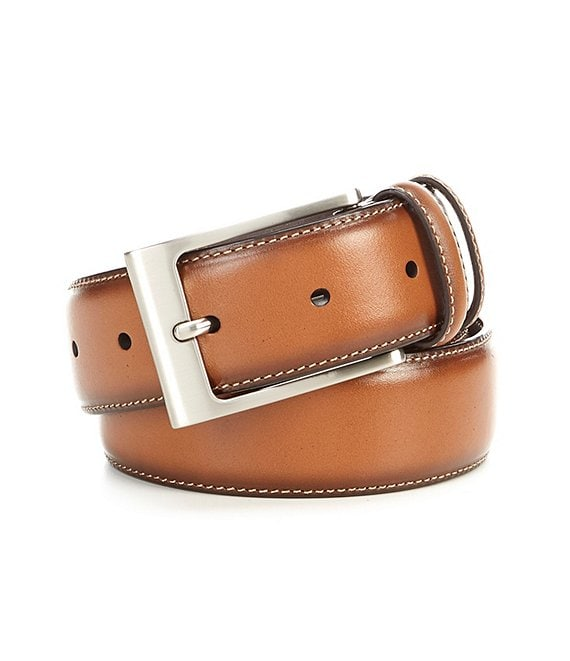 Cremieux Classic Dark Burnish Edge Leather Belt