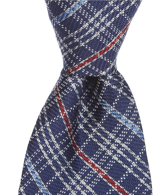 Color:Navy - Image 1 - Colma Plaid Traditional 3 1/4#double; Silk Tie