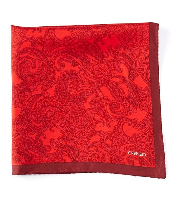 Color:Red - Image 1 - Danville Paisley Printed Solid Silk Pocket Square