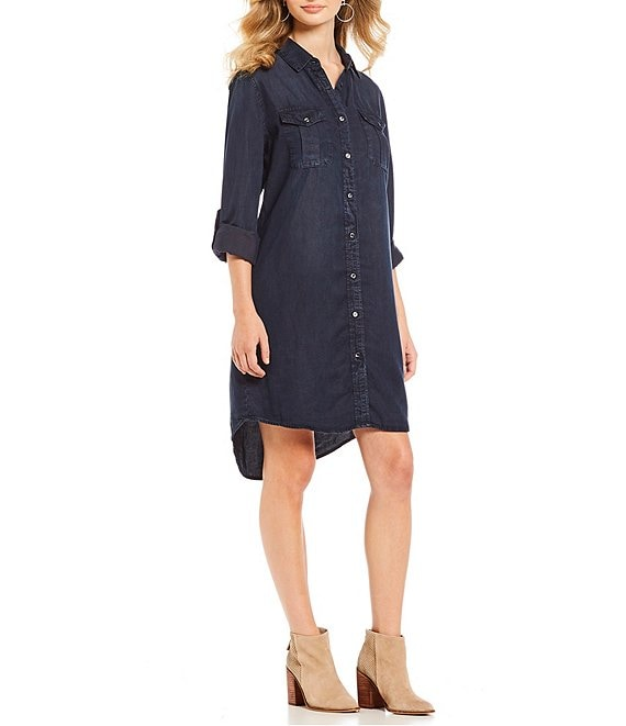 Color:Dark Indigo - Image 1 - Jay Chambray Roll-Tab Long Sleeve Tunic Dress
