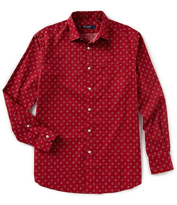 Cremieux Medallion Print Poplin Long-Sleeve Woven Shirt