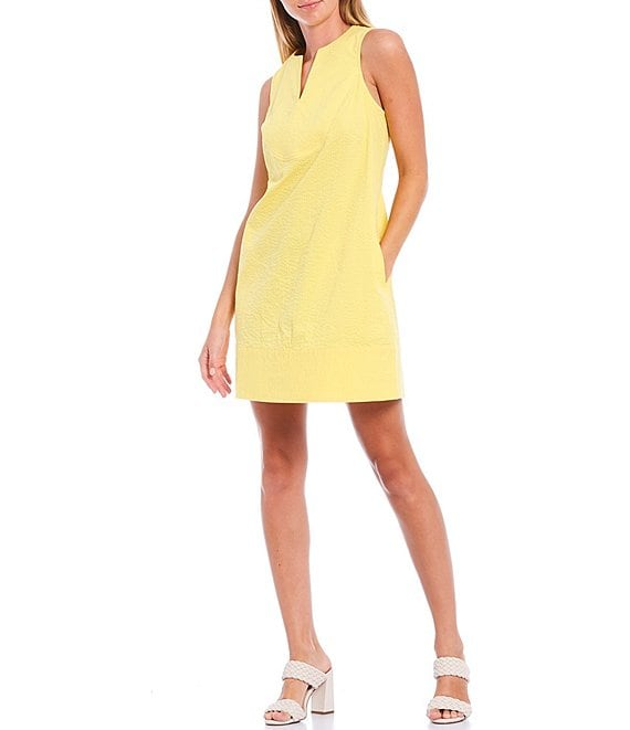 Color:Sunshine - Image 1 - Michael Seersucker Sleeveless Shift Dress