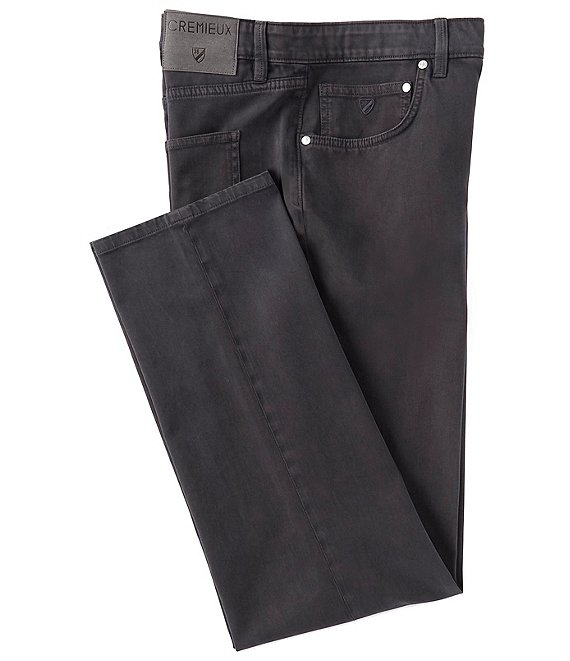 Color:Dark Grey - Image 1 - Milan Straight-Fit Pigment-Dyed 5 Pocket Pants