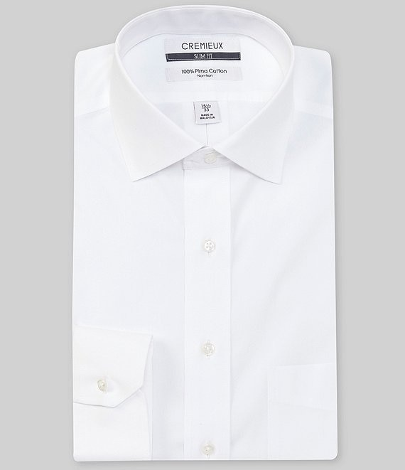 Color:White - Image 1 - Non-Iron Slim-Fit Spread-Collar Solid Long Sleeve Dress Shirt
