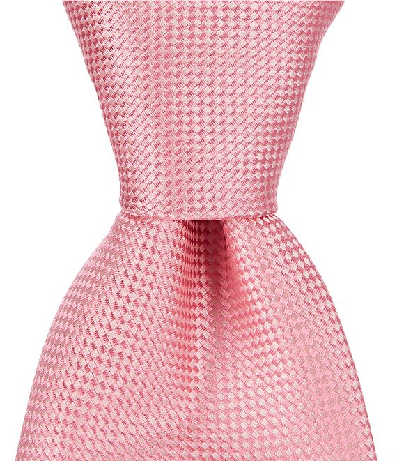Color:Pink - Image 1 - Oxford Solid Traditional 3 1/4#double; Silk Tie