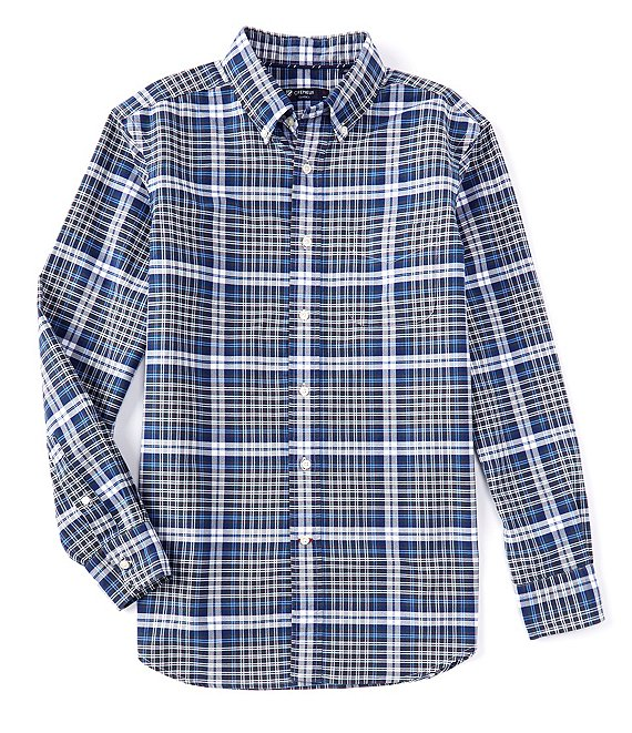 Cremieux Plaid Oxford Blue Print Long-Sleeve Woven Shirt