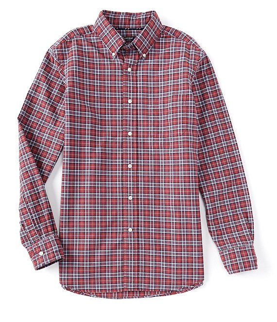 Cremieux Plaid Oxford Bright Red Long-Sleeve Woven Shirt