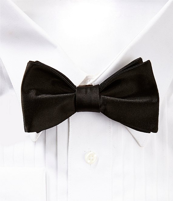Color:Black - Image 1 - Formal Silk Bow Tie
