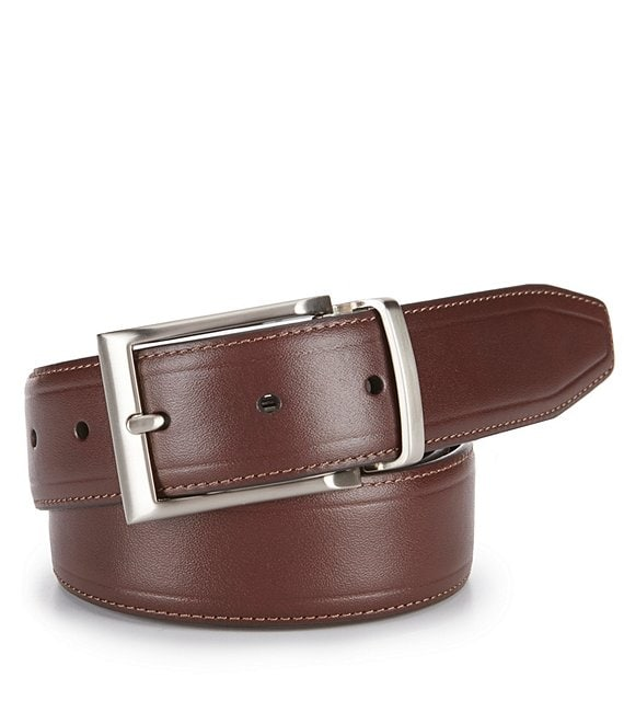 Color:Brown - Image 1 - Reversible Casual Leather Belt