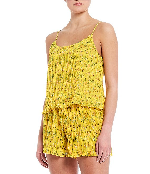 Color:Yellow - Image 1 - Coordinating Printed Pleated Top