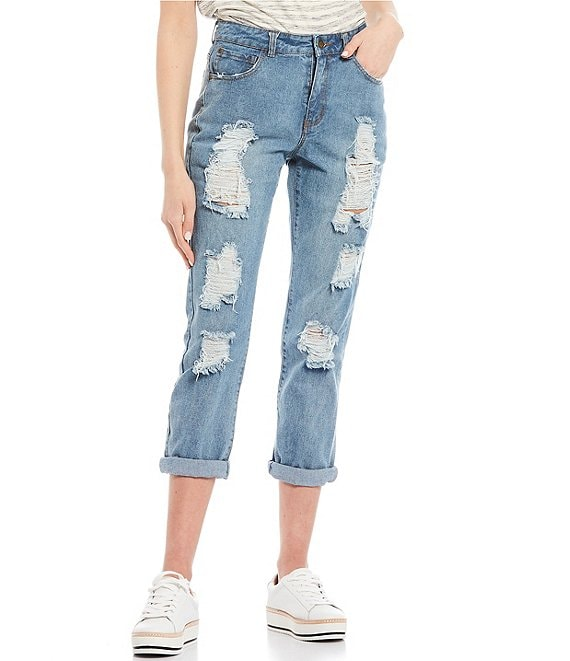 Color:Mid Blue - Image 1 - Destructed Rolled Cuff Boyfriend Jeans