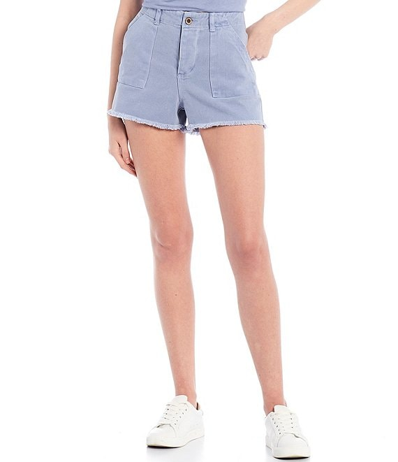 Color:Periwinkle - Image 1 - Frayed Hem Denim Shorts
