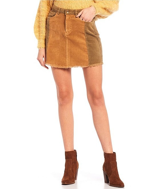 Color:Camel/Olive - Image 1 - Patchwork Denim Skirt
