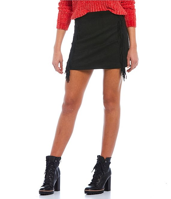 Color:Black - Image 1 - Suede Fringe Mini Skirt