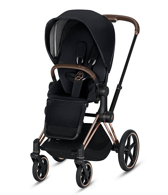 Color:Rose Gold Frame/Premium Black Seat - Image 1 - Rose Gold Priam 3 Compact Stroller