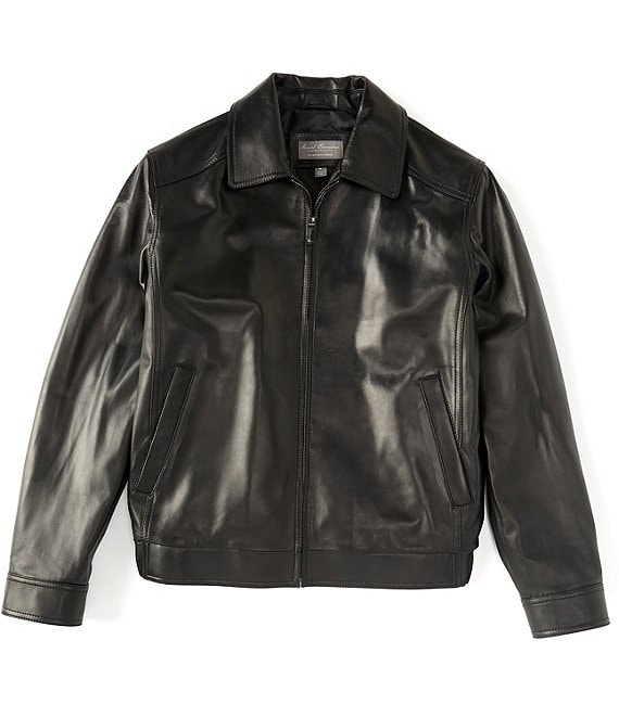 Color:Black - Image 1 - Daniel Cremieux Signature Full-Zip Genuine Lamb Leather Bomber Jacket