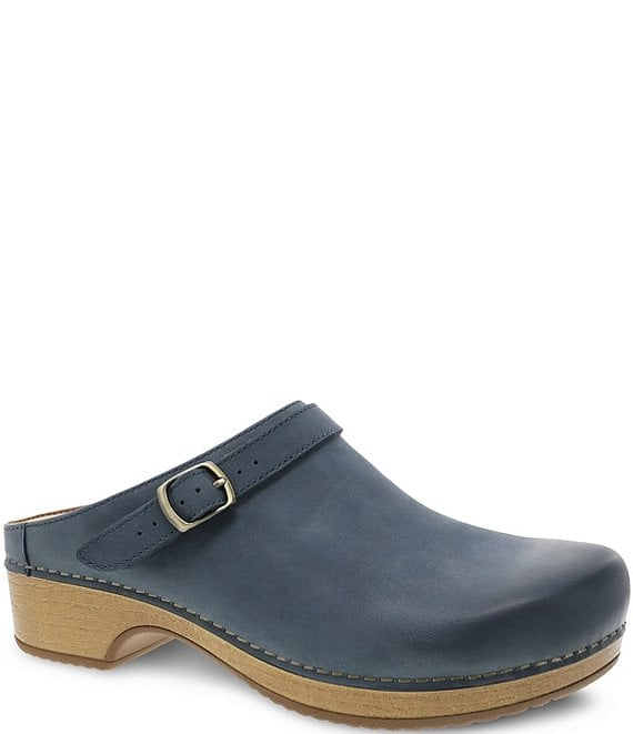 Color:Denim Burnished Nubuck - Image 1 - Berry Burnished Suede Clogs