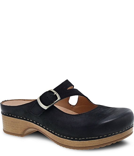 Dansko Britney Burnished Leather Mary Jane Block Heel Clogs