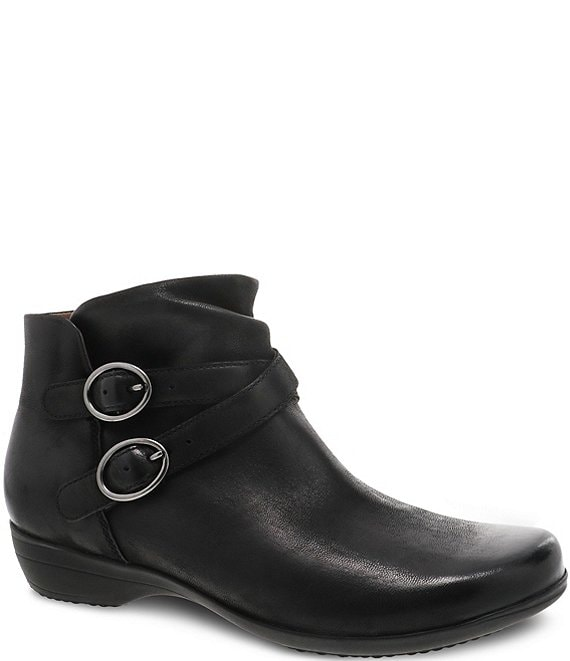 Color:Black Burnished - Image 1 - Faithe Leather Buckle Detail Block Heel Ankle Booties