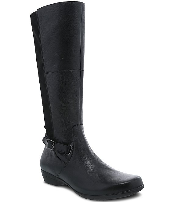 Color:Black Milled Nappa - Image 1 - Francesca Tall Leather Boots