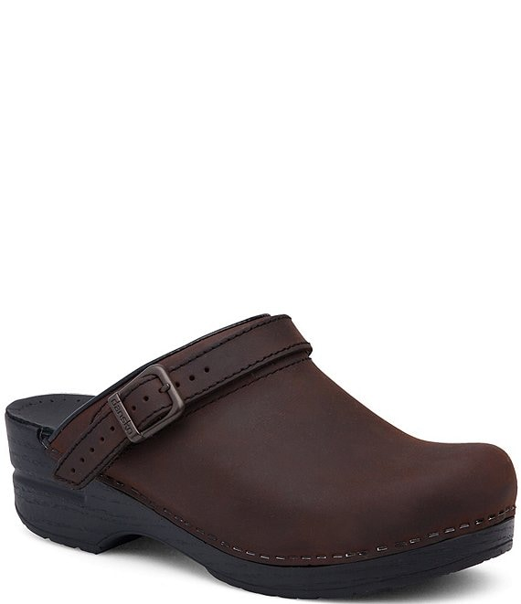 Color:Antique Brown Oiled - Image 1 - Ingrid Oiled Leather Buckle Clogs