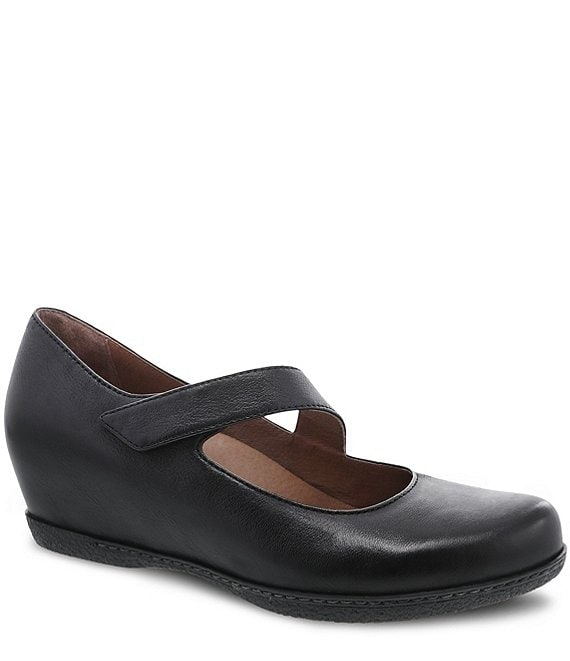 Color:Black Burnished Nubuck - Image 1 - Lanie Hidden Wedge Burnished Leather Mary Janes