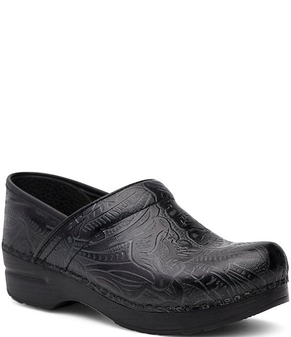 Color:Black Tooled - Image 1 - Professional Floral Embossed Tooled Clogs