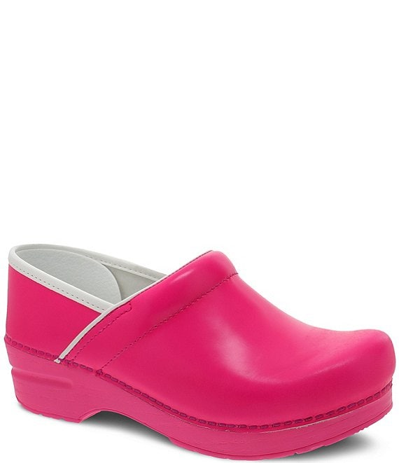 Color:Pink Neon - Image 1 - Professional Leather Clogs