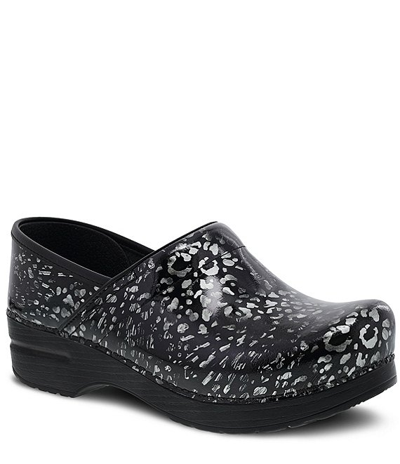 Dansko Professional Pewter Leopard Patent Leather Slip On Clogs