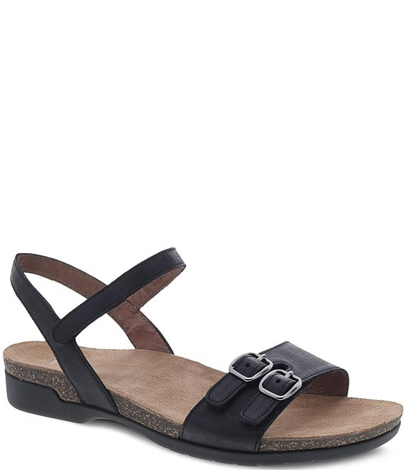 Color:Black Waxy Burnished - Image 1 - Rebekah Burnished Leather Sandals
