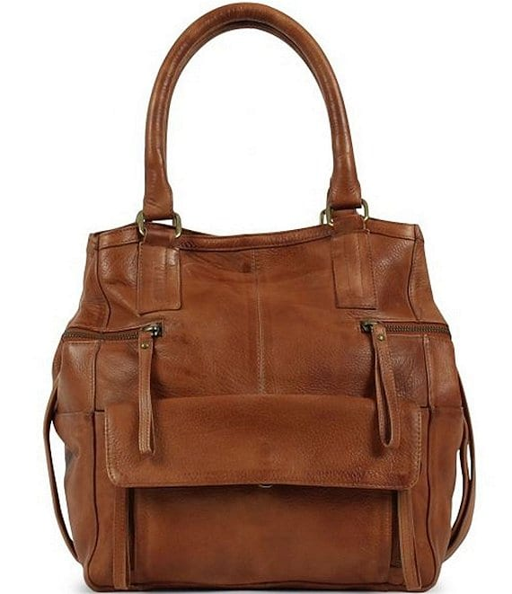 Color:Cognac - Image 1 - Hannah Small Leather Satchel Bag