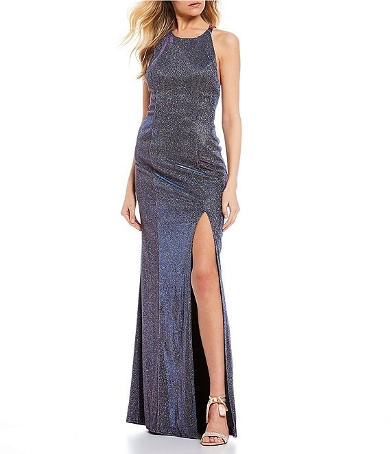 Color:Purple - Image 1 - Double Spaghetti Strap Side Slit Shimmer Shine Long Dress