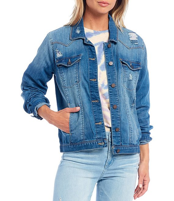Color:Light Blue - Image 1 - Western Distressed Detail Denim Jacket