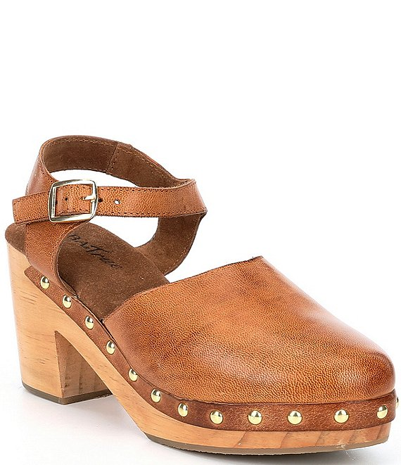 Color:Luggage - Image 1 - Cat Paws Leather Studded Clogs