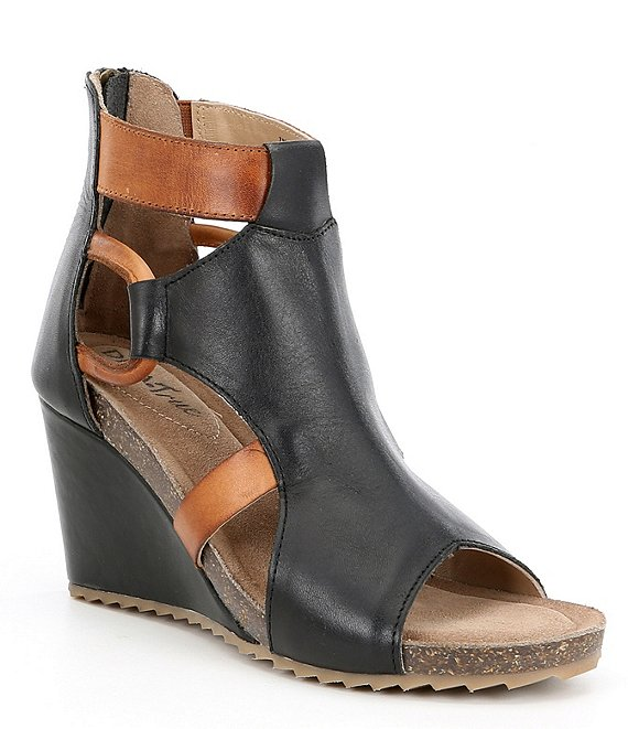 Diba True Night Out Leather Peep-Toe Wedge Booties