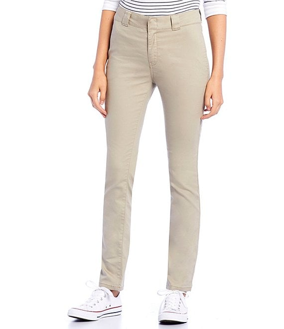 Color:Khaki - Image 1 - Mid Rise Twill Work Pants