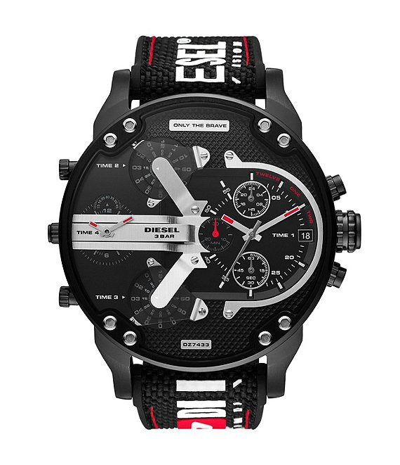 Color:Black - Image 1 - Mr. Daddy 2.0 Chronograph Black Nylon and Silicone Watch