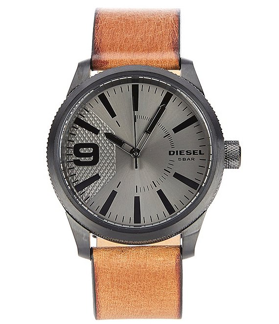 Color:Brown - Image 1 - Rasp Men's Three Hand Brown Leather Watch