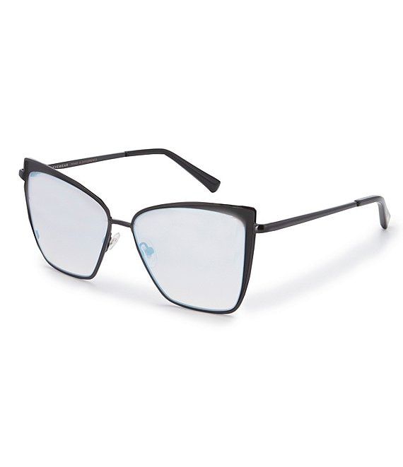 Color:Black - Image 1 - Becky Black Flash Grey Gradient Polarized Cat-Eye Sunglasses