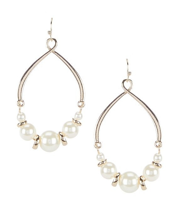 Color:Gold - Image 1 - Pearl Tear Drop Earrings