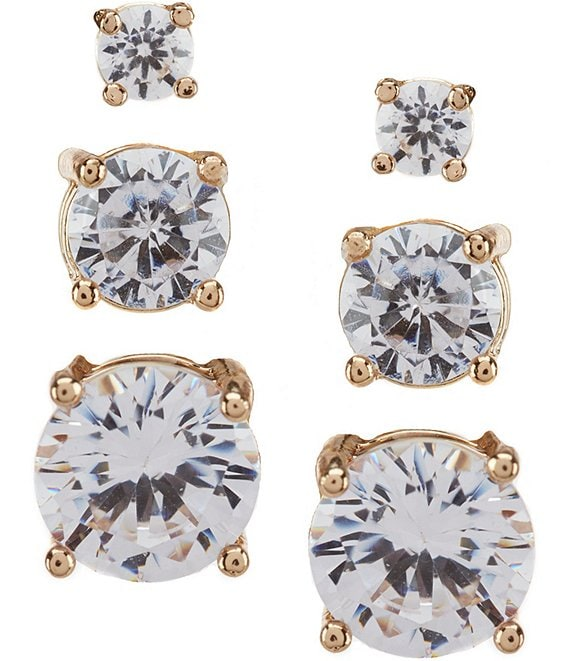 Color:Gold/Crystal - Image 1 - Tailored Faux-Crystal Earring Set